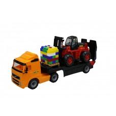 """""""Volvo"""", автомобиль-трейлер + автокар + конструктор """"Супер-Микс"""" - 30 элементов на поддоне (в сеточк"""