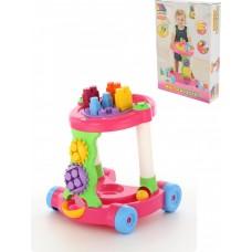 Каталка игровая с конструктором (13 элементов) в коробке (розовая)
