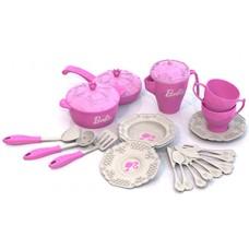 639 Набор кухонной и чайной посудки БАРБИ (21 предмет в сетке)