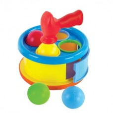 """Игрушка-сортер разв. """"Бей в барабан"""": барабан и сортер, 4 шарика и молоточек"""