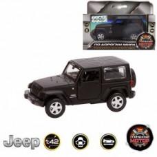 Машина мет. 1:42 Jeep Wrangler, откр.двери, 12см, черный матовый