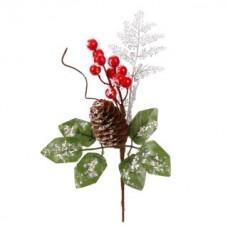 Веточка новогодняя с ягодами 14*27 см