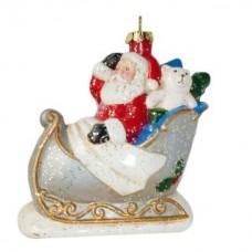 Ел.укр. Дед Мороз в санях 10,4 см, пластик