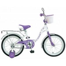 "Велосипед NOVATRACK 16"" BUTTERFLY, белый-фиолетовы"