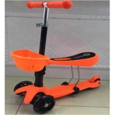 Самокат 3х кол.  3в1. Колесо 120 мм. До 55 кг. Цвет- розовй, синий, зеленый, оранжевый.