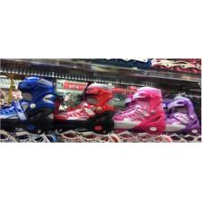 Ролики метал.рама, колеса PU,свет., в сумке. Размер L (39-42). Цвет - синий, красный, розовый.