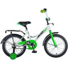 "Велосипед NOVATRACK 14"", STRIKE, белый-зелёный, тормоз нож., цветн.крылья, багажник чёрн.."