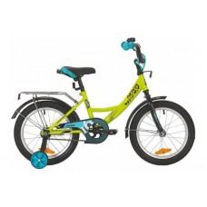 """Велосипед NOVATRACK 16"""", VECTOR, салатовый, защита А-тип, тормоз нож., крылья и багажник чёрн."""