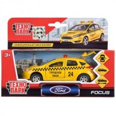 Машина металл FORD Focus хэтч. такси 12см, открыв. двери, инерц. в кор. Технопарк в кор.2*24шт