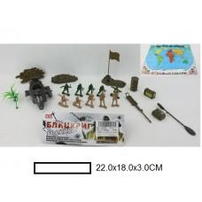 Игр.набор Армия, фигурки  с техникой и аксс., пакет 22х18х3 см