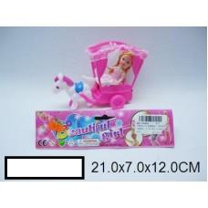 Заводная карета с лошадкой и куклой, пакет 21х7х12 см