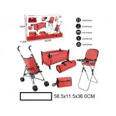 Кукольный набор: коляска-трость, манеж, стульчик для кормления, сумка, в кор. 59х12х36 см