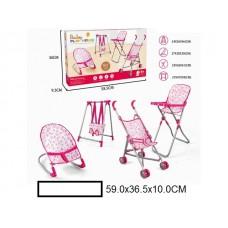 Кукольный набор: коляска-трость, кресло, стульчик для кормления, качели, в кор. 59х37х10 см